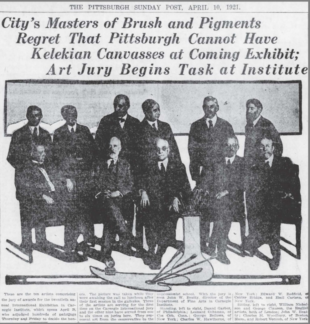 "The Pittsburgh Daily Post, Pittsburgh, PA, ""Art Jury Begins Task at Institute"", April 10, 1921, Page 46"