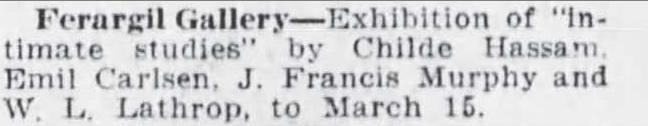 "The Brooklyn Daily Eagle, Brooklyn, NY, ""Art Calendar"", March 4, 1917, Page 22"