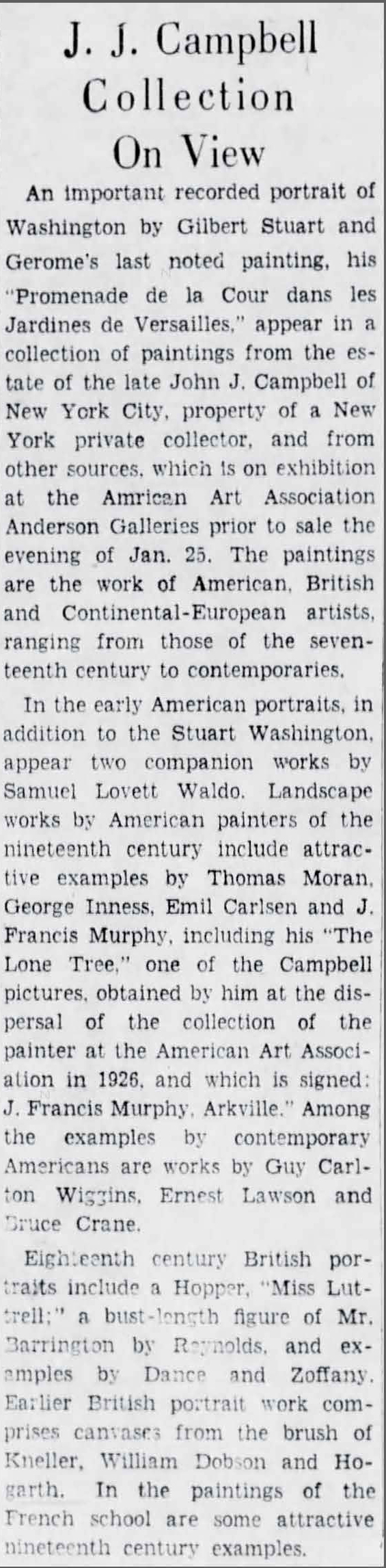 "The Brooklyn Daily Eagle, Brooklyn, NY, ""J J Campbell Collection On View"", January 20, 1935, page 32"