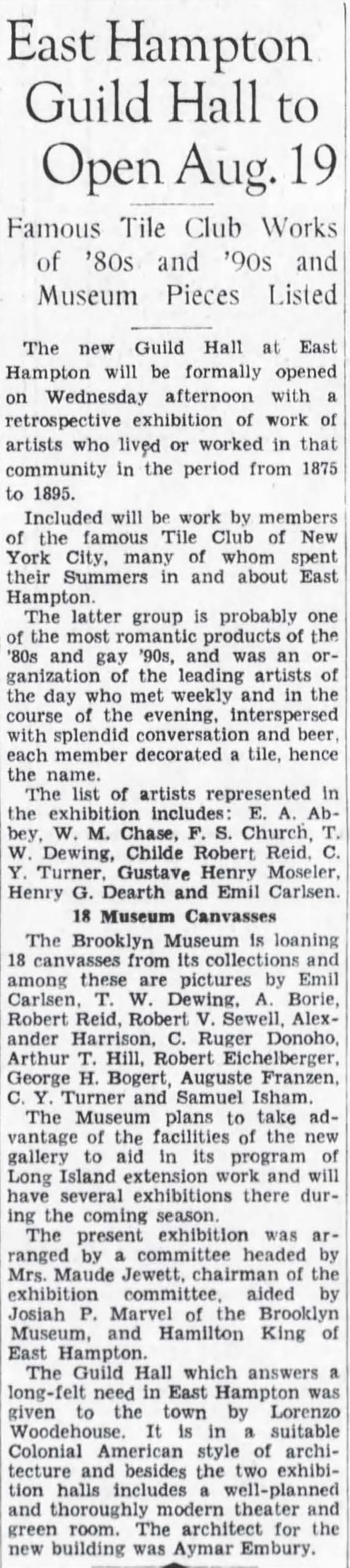 "The Brooklyn Eagle, Brooklyn, NY, ""East Hampton Guild Hall to Open Aug. 19"", August 16, 1931, Page 23"