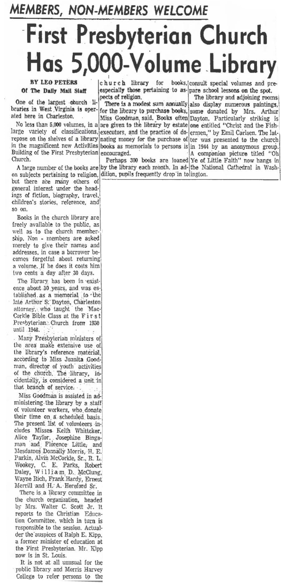 "The Charleston Daily Mail, Charleston, WV, ""First Presbyterian Church has 5,000-Volume Library"", February 11, 1961, Page 3"