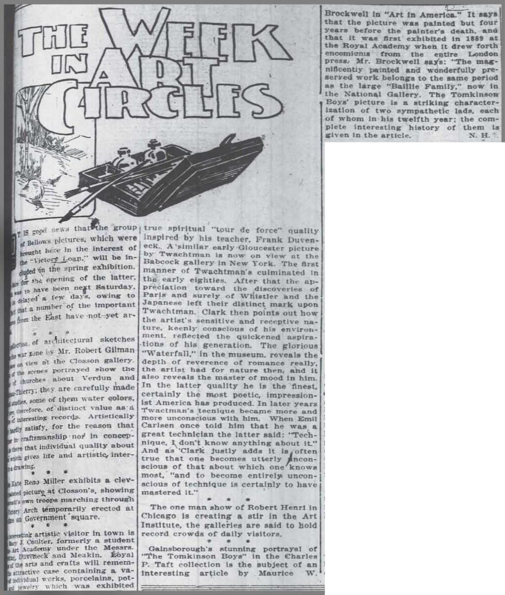 "The Cincinnati Enquirer, Cincinnati, OH, ""The Week in Art Circles"", May 18, 1919, Page 49"