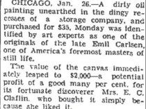"The Evening Independent, Massillon, OH, ""$35 Piece of Art Now Worth $2,000"", January 25, 1938, Page 3"