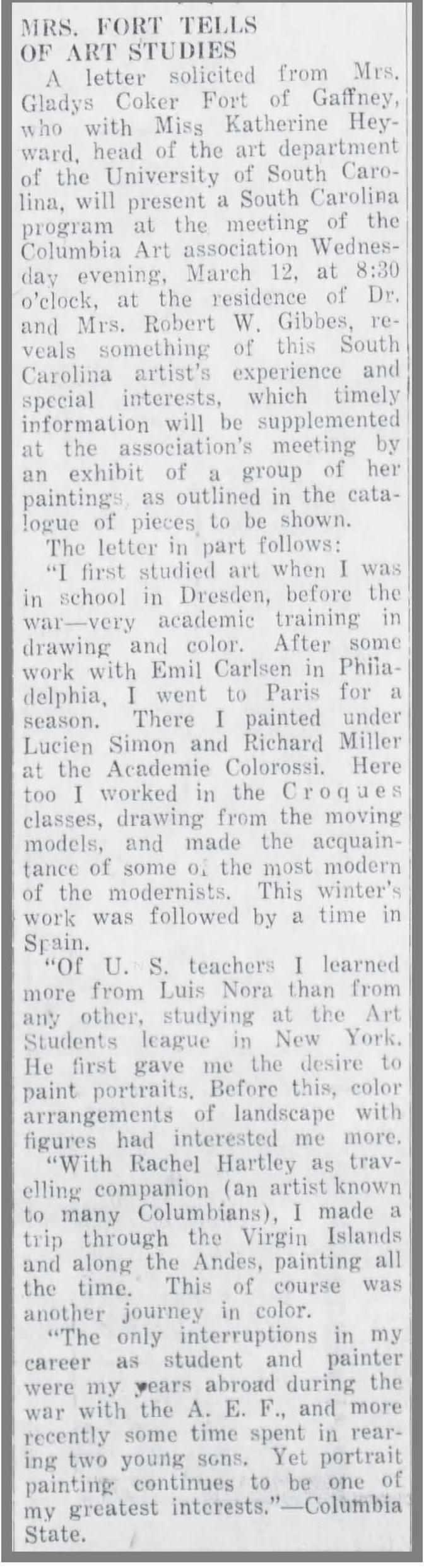 "The Gaffney Ledger, Gaffney, SC, ""Mrs. Fort Tells of Art Studies"", March 15, 1930, Page 3"