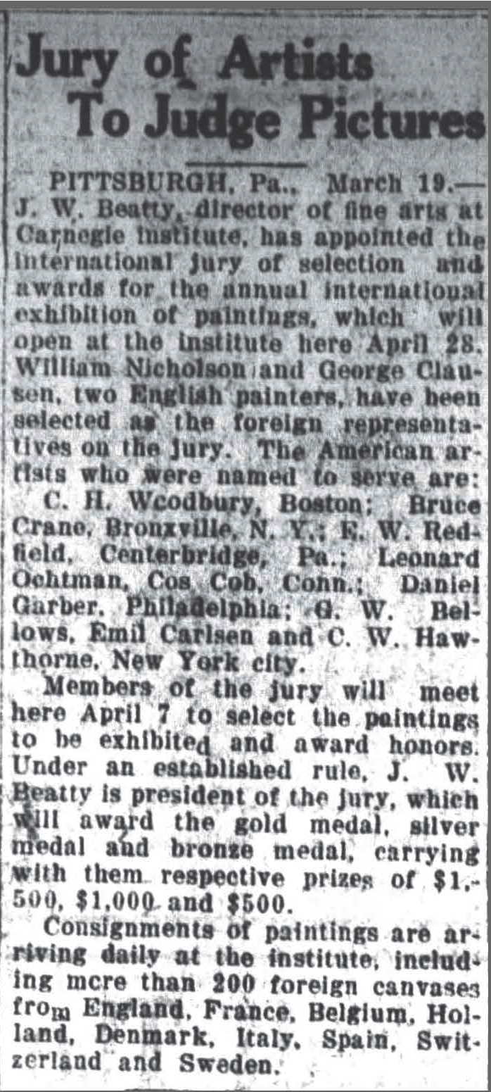 """The High Point Enterprise, High Point, NC, """"Jury of Artists To Judge Picture"""", March 19, 1921, Page 6"""