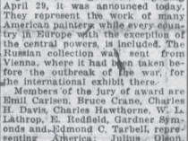 "The Twin-City Daily Sentinel, Winston-Salem, NC, ""800 Paintings are Placed on Exhibition"", April 1, 1920, Page 1"
