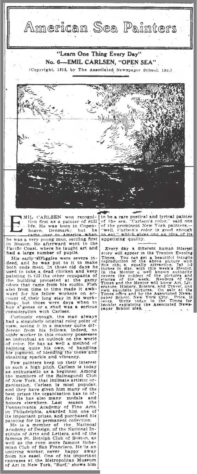 "Trenton Evening Times, Trenton, NJ, ""American Sea Painters"", July 12, 1913, Page 4"