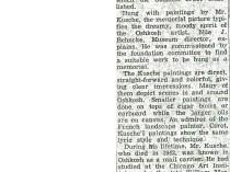 "Oshkosh Daily Northwestern, Oshkosh, WI, ""Paintings of Carleton Kusche Shown With One in His Memory"", May 8, 1952."