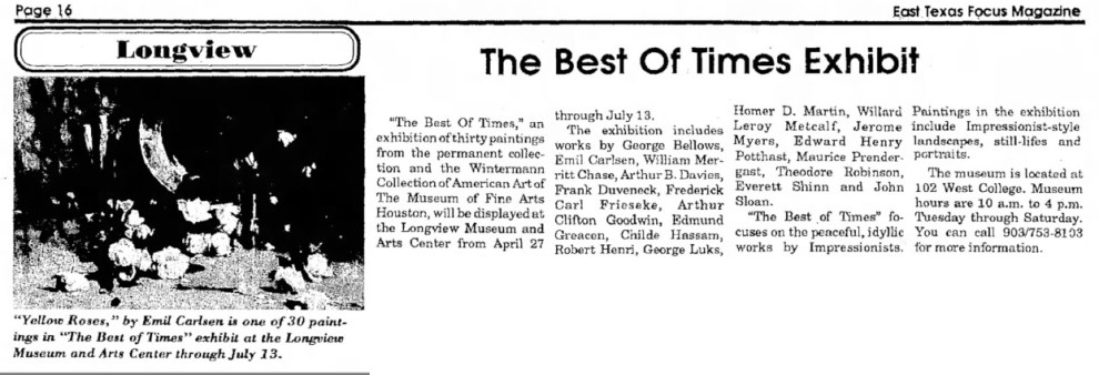 "The Paris News, Paris, TX, ""The Best of Times Exhibit"", April 25 1991, Page 28"