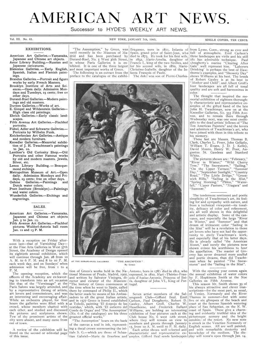 "American Art News, New York, NY, ""[Salamgundi Club Seven Member Show]"", January 7, 1905, Volume 3, #61, not illustrated"