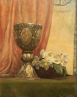 Emil Carlsen Still Life with Silver Goblet & Flowers, c.1897