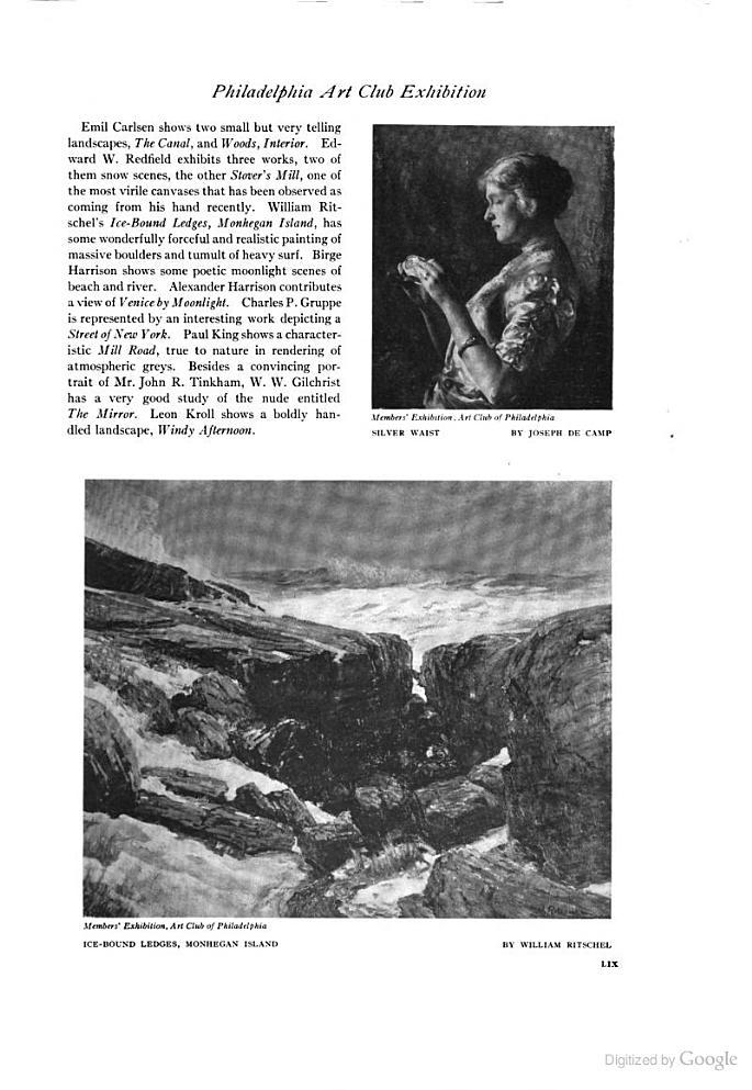 "International Studio, New York, NY, ""Philadelphia Art Club Exhibition"" by Eugene Castello, April, 1915, Volume 55, No. 218, Page 58, not illustrated"