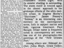 "The Palm Beach Post, West Palm Beach, FL, ""All Types of Tastes In Art Are Noted in Four Arts Exhibits"" March 6, 1938, page 10 & 12, not illustrated"