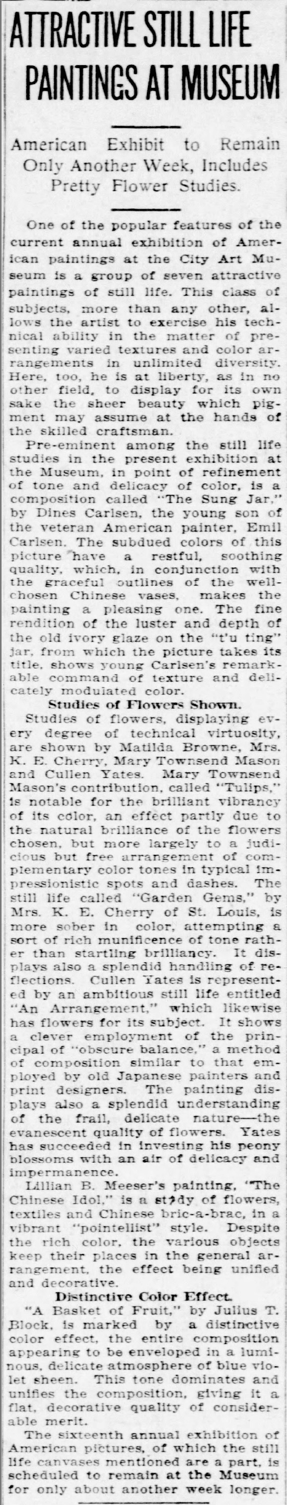 """St. Louis Post-Dispatch, St. Louis, MO, """"Attractive Still Life Paintings at Museum"""", October 16, 1921, Sunday, Main Edition, page 52"""