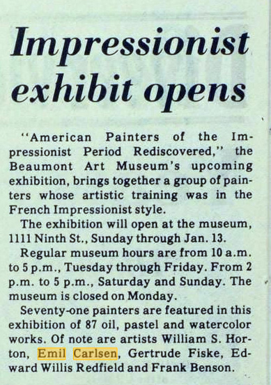 "Lamar University Press, Beaumont, TX, ""Impressionist exhibit opens"", Volume 56, Number 21, Edition 1, Friday, November 30, 1979"