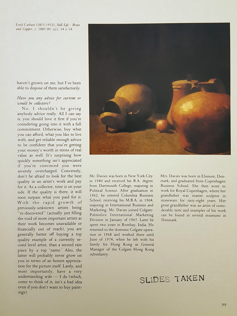 """Antiques Magazine, """"Still Life - Brass and Copper, c.1885-90"""", May, 1981, page 1007, illustrated: color"""