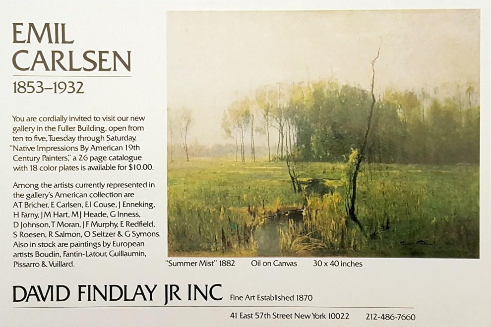 """Emil Carlsen Ad for David Findlay, Jr. Inc., unknown magazine, illustrated: color, 1982"""