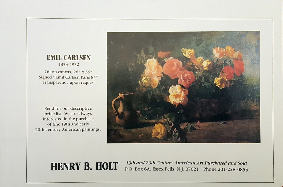 """Emil Carlsen Ad for Henry B. Holt"", Essex Fells, NJ, unknown magazine, 1984"