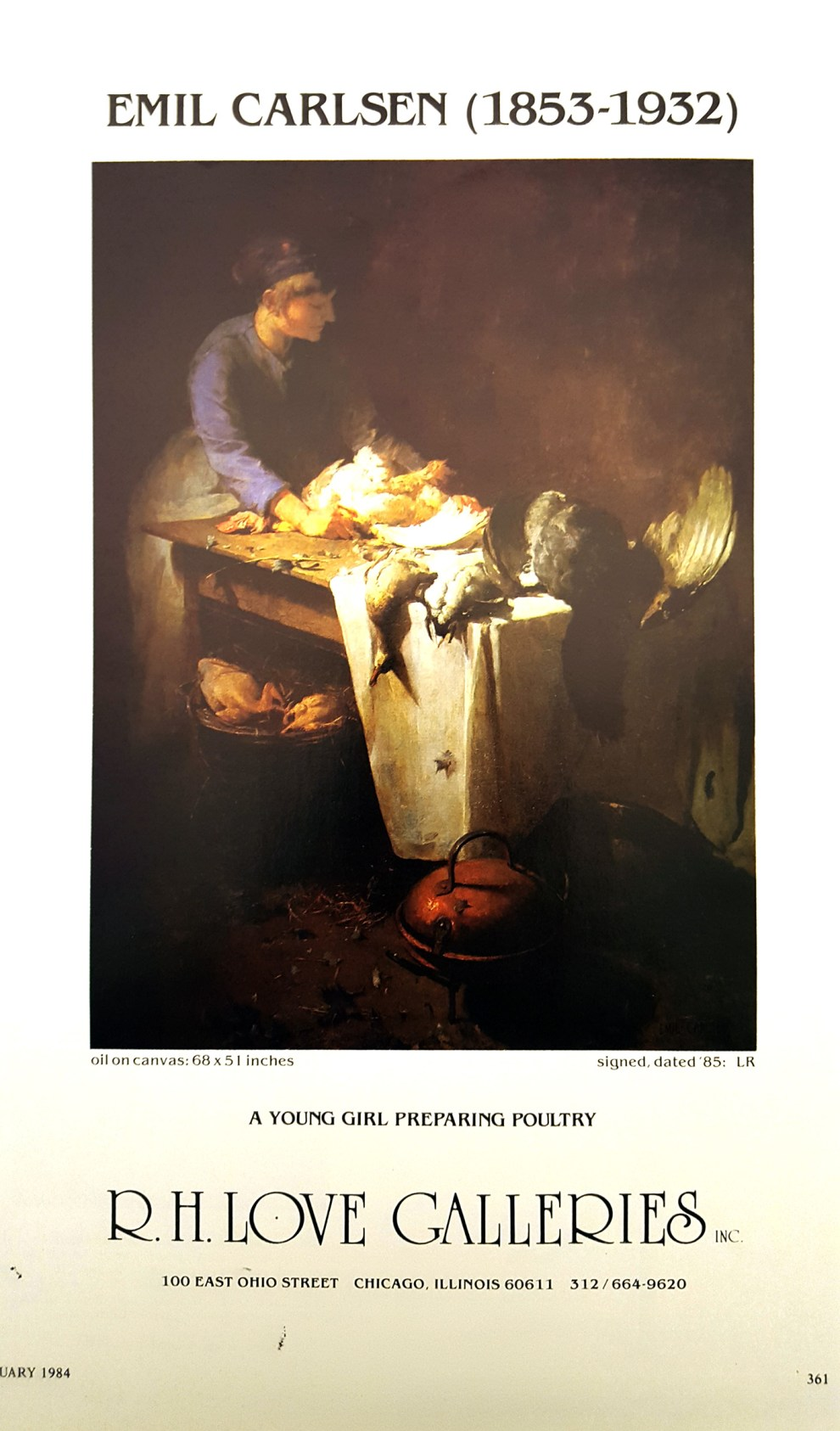 """Emil Carlsen Ad for R.H. Love Galleries, Inc."", Chicago, IL, unknown magazine, January, 1984, page 361, illustrated: color"