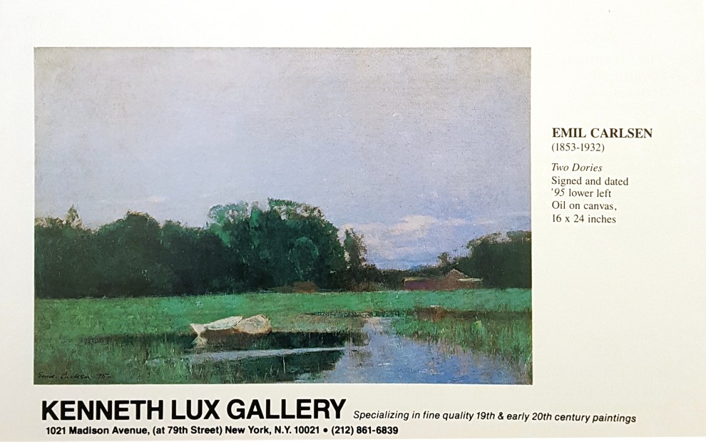 """Emil Carlsen Ad from Kenneth Lux Gallery, Unknown Magazine, 1983"""