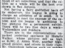"San Antonio Express, San Antonio, TX, ""Art Enthusiasm Needed: New League Will Try, to Raise Money for a Permanent, Exhibit in Carnegie Hall"", Volume 48, Number 81, Edition 1, March 22, 1913"
