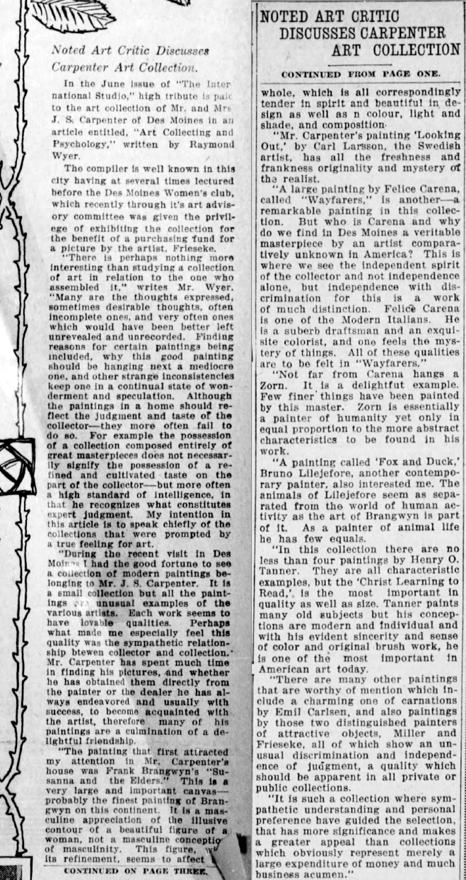 "The Des Moines Register, Des Moines, IO, ""Noted Art Critic Discusses Carpenter Art Collection"", June 25, 1916, Sunday, Page 27, not illustrated."