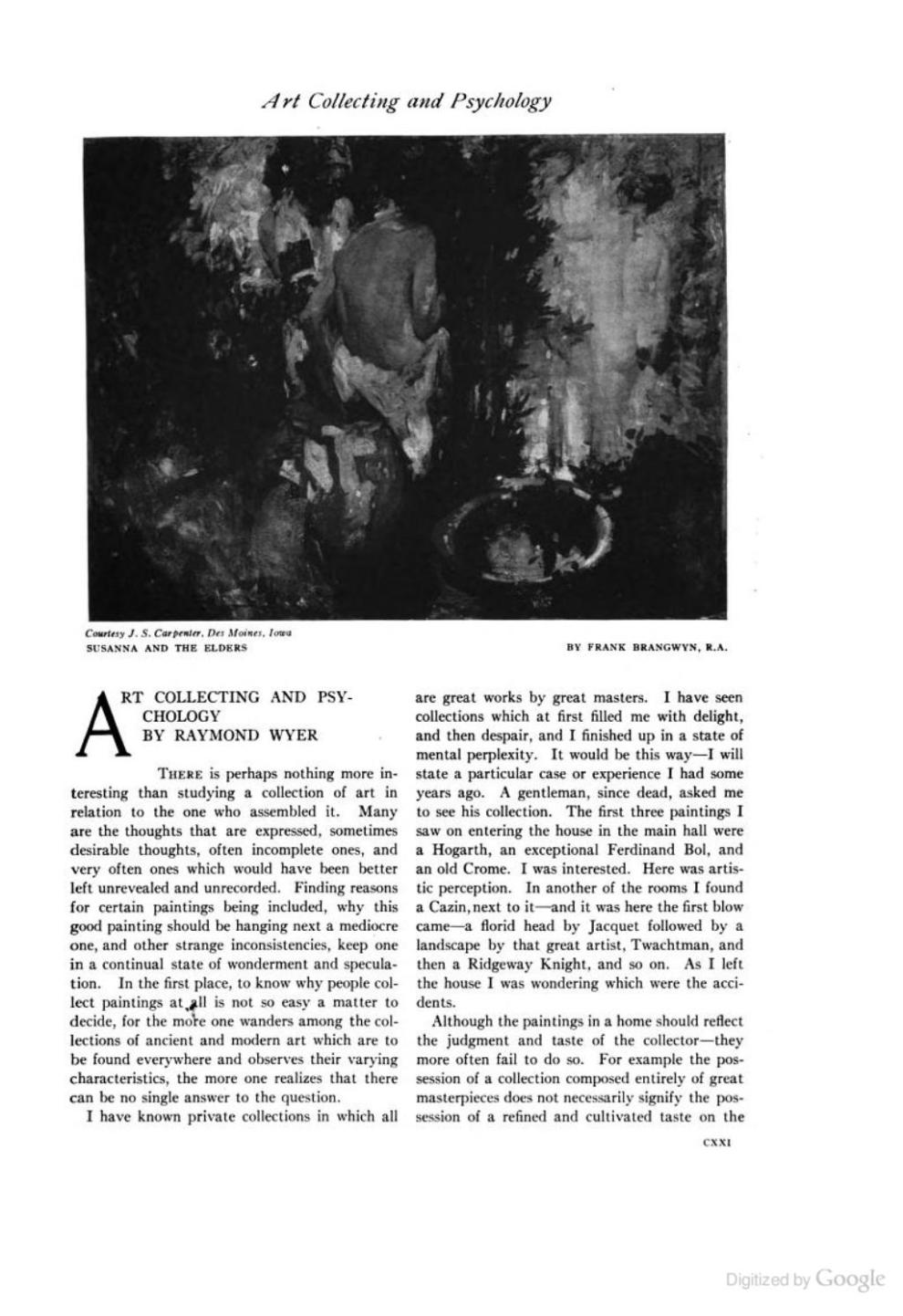 """The International Studio, New York, NY, """"Art Collecting and Psychology"""" by Raymond Wyer, Volumes 57-58, 1915, page 121-126, not illustrated"""