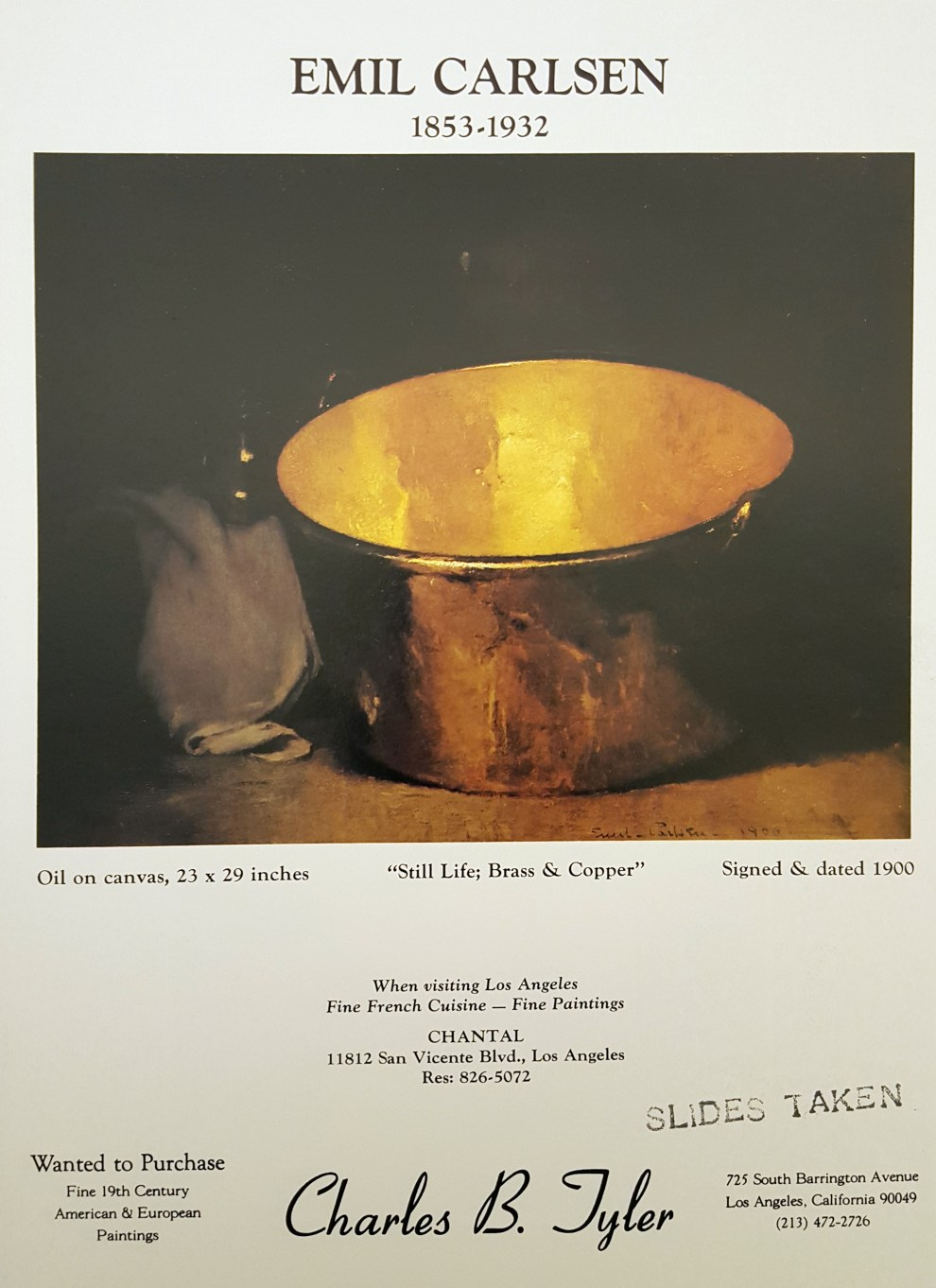 """Emil Carlsen Ad for Charles B. Tyler"", American Art Review, September/October, 1975, page x, illustrated: color"