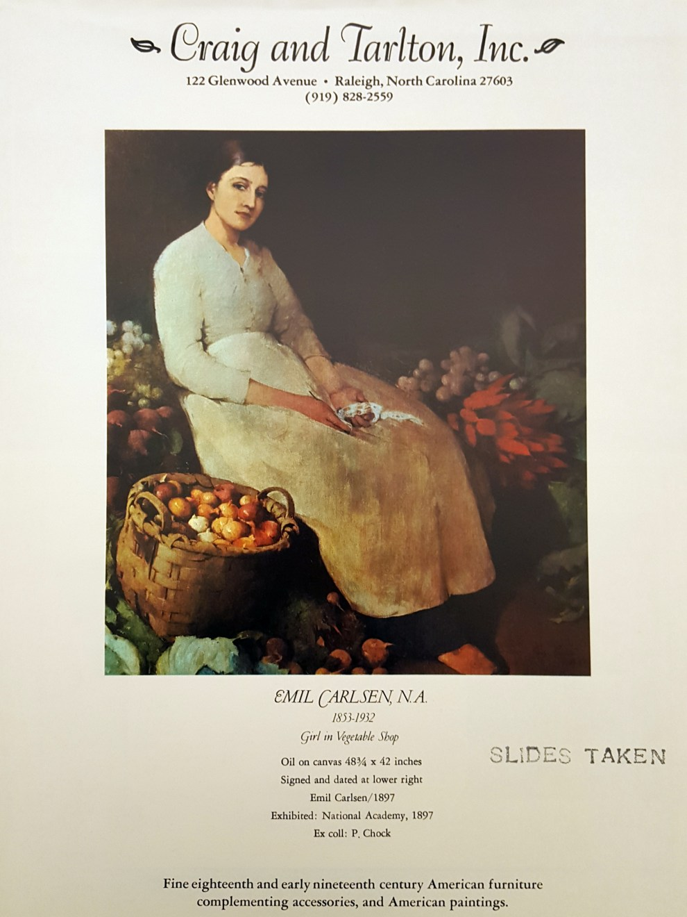 """Emil Carlsen Ad for Craig and Tarlton, Inc."", The Magazine Antiques, September 1974, p. 325, illustrated: color"