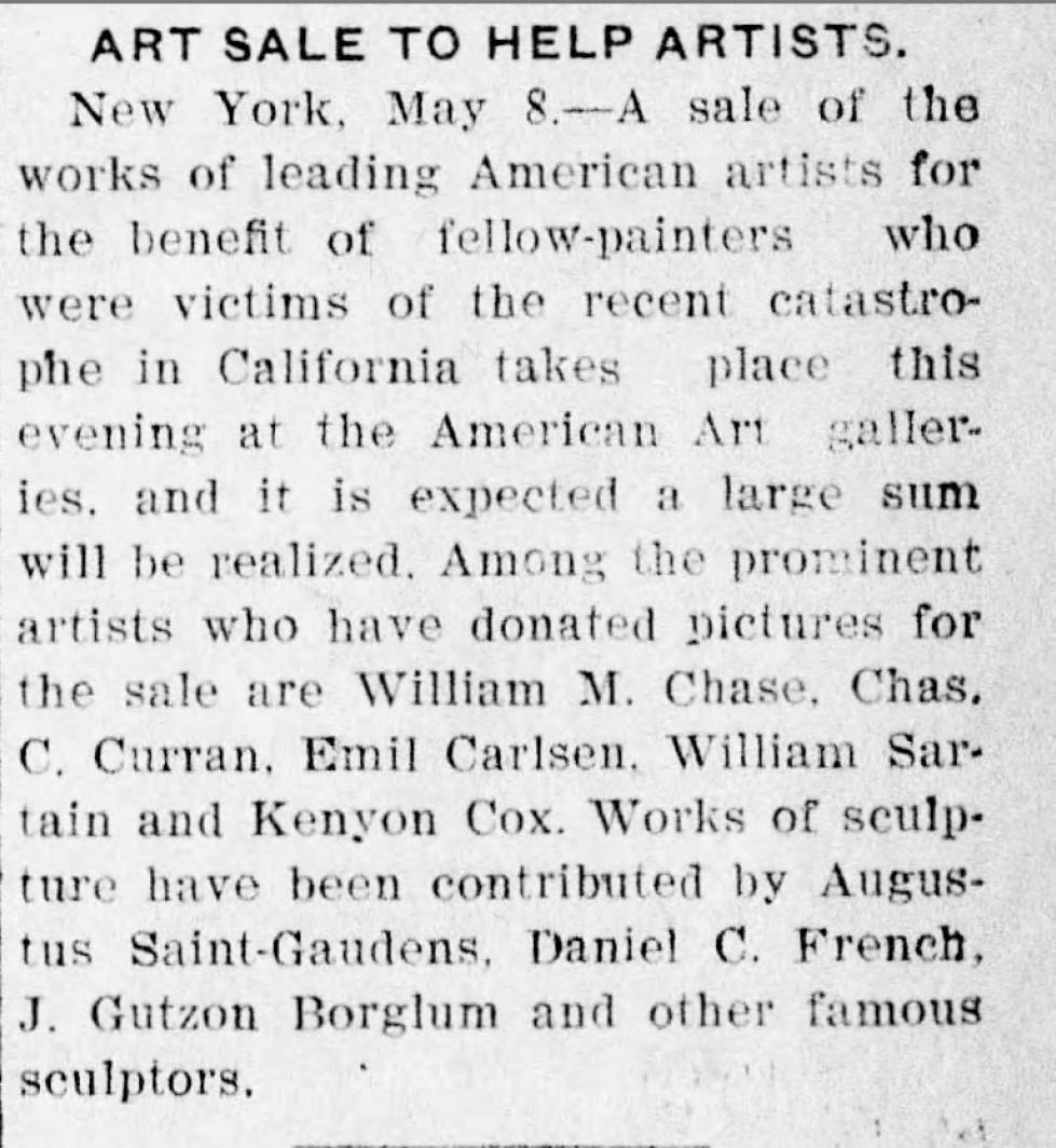 "Arizona Daily Star, Tucson, AZ, ""Art Sale To Help Artists."", Wednesday, May 9, 1906, Main Edition, Page 1"