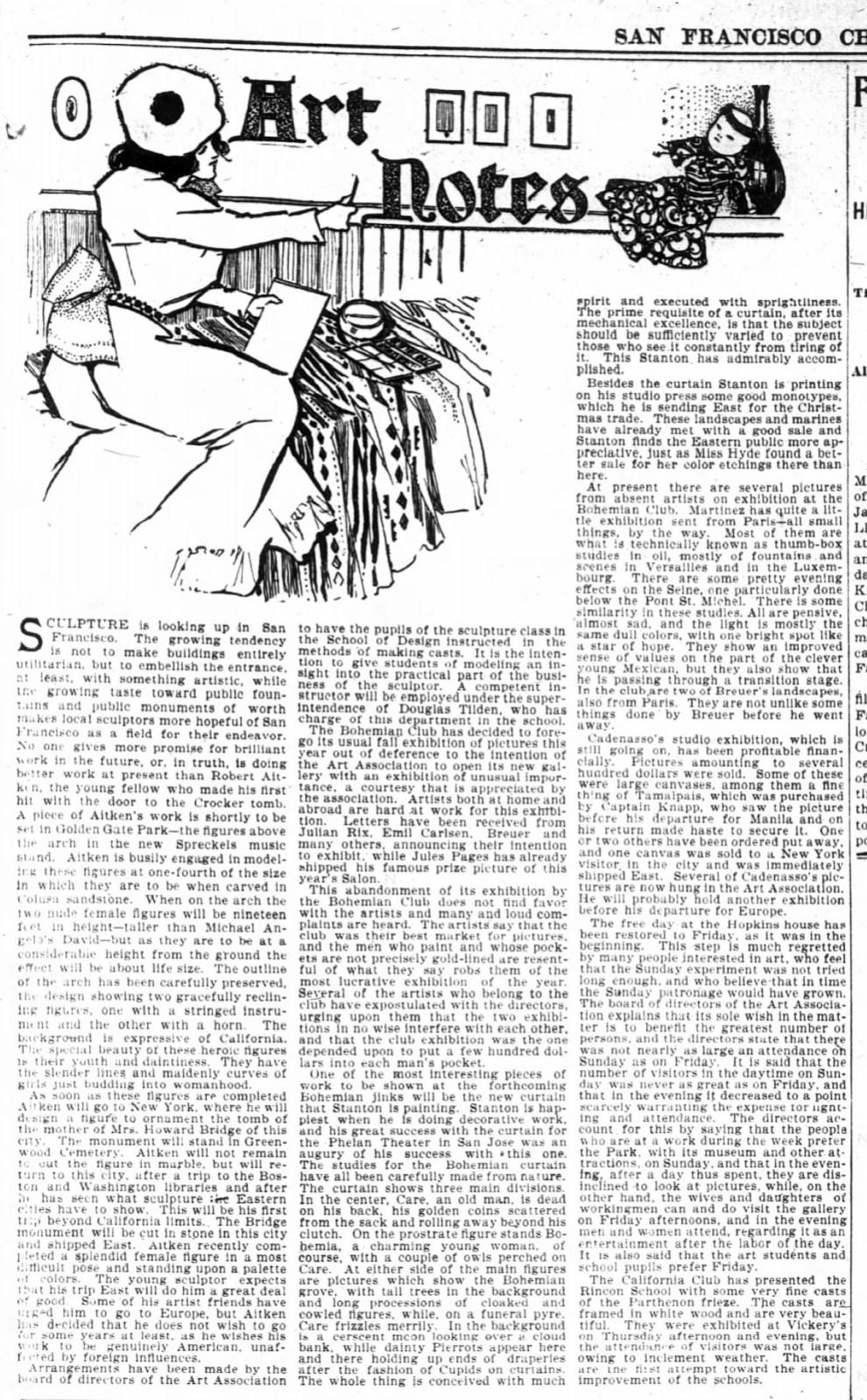 "San Francisco Chronicle. San Francisco, CA, ""Art Notes"", Sunday, October 15, 1899, page 25, not illustrated"