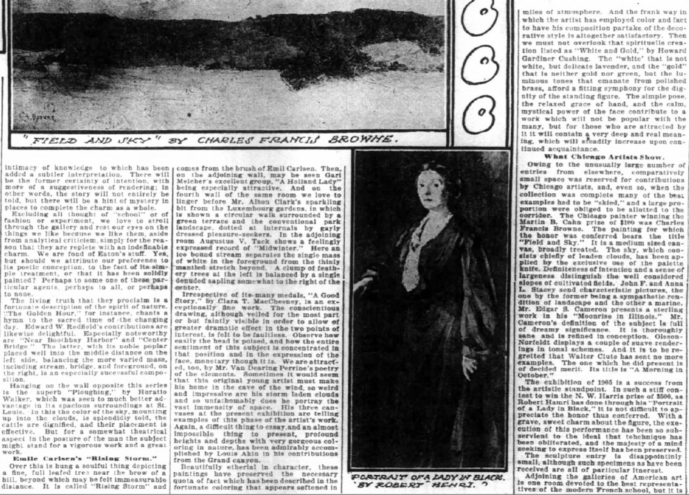"The Inter Ocean, Chicago, IL, ""Emile Carlsen's 'Rising Storm'"", Sunday, October 29, 1905, page 32, not illustrated"