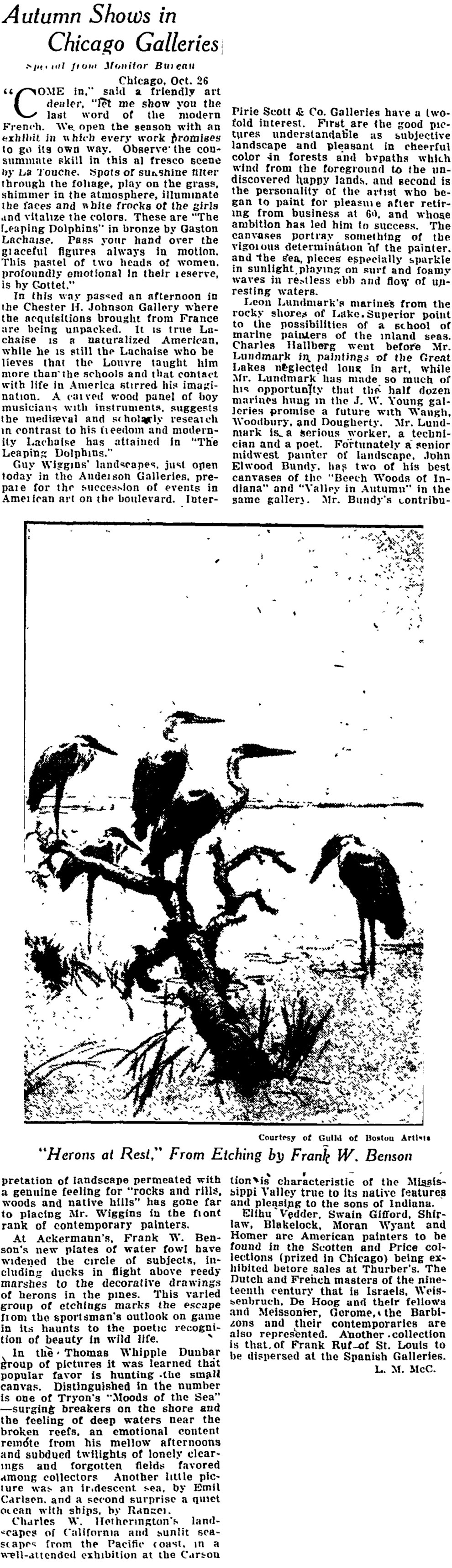 "The Christian Science Monitor, New York, NY, ""Autumn Shows in Chicago Galleries"", October 29, 1923, page 14, not illustrated"