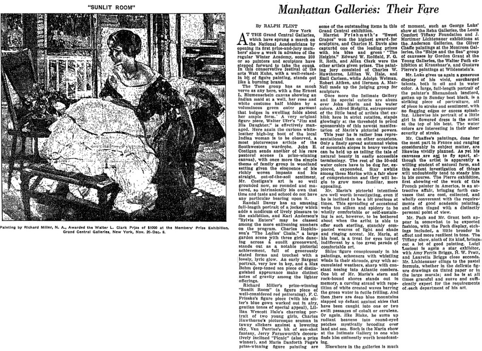 "The Christian Science Monitor, New York, NY, ""Manhattan Galleries: Their Fare"" by Ralph Flint, November 26, 1928, page 9, not illustrated"