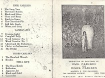 """1931 Warren E. Cox Galleries, 744 Madison Avenue, New York, NY, """"Exhibition of Paintings by Emil Carlsen and Dines Carlsen"""", February 2-28."""