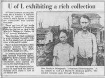 "The Courier-Journal, Louisville, KY, Sunday, ""U of L exhibiting a rich collection"", February 13, 1983, Metro Edition, page 108, not illustrated."