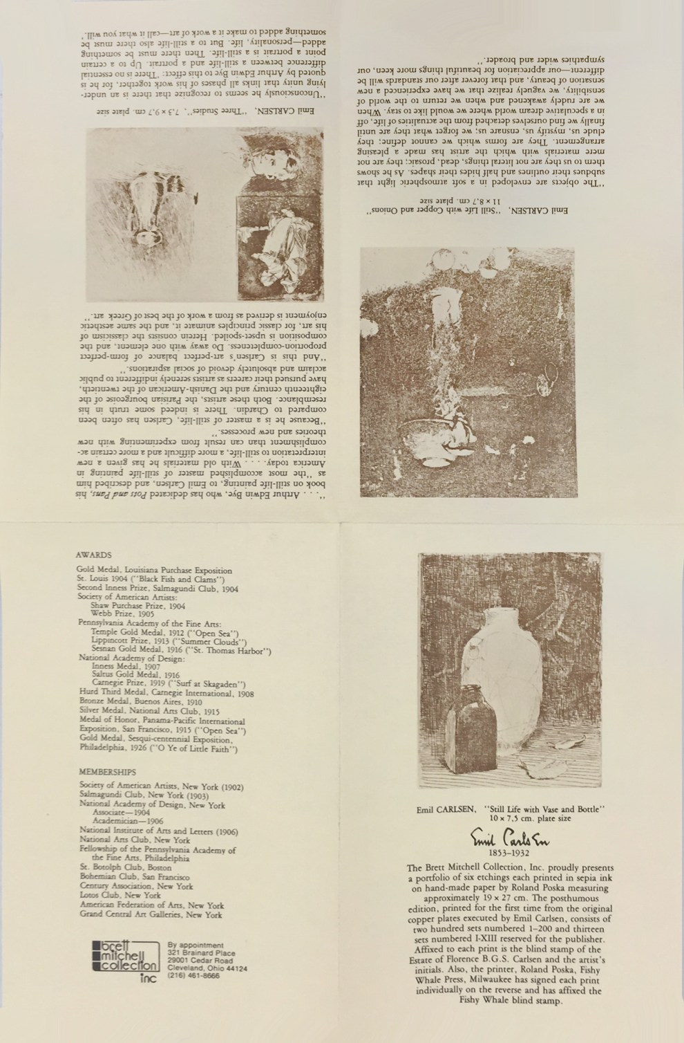 """The Brett Mitchell Collection, Inc., Cleveland, OH marketing brochure for the Emil Carlsen posthumous six etching portfolio approved by the Estate of Florence B. G. S. Carlsen"", printed by Roland Poska, Fishy Whale Press, Milwaukee, MI, 1978"