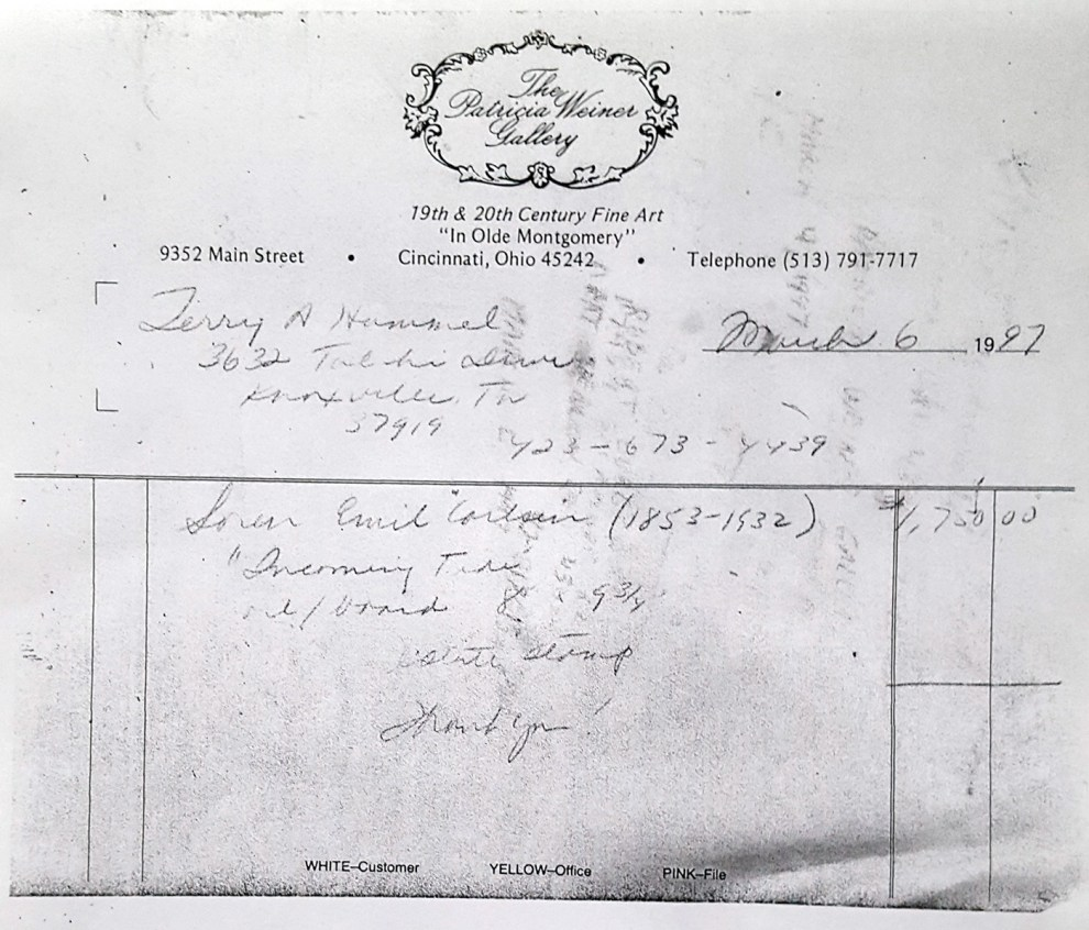 """""""Invoice for Emil Carlsen's Full Tide"""" provided by the Patricia Weiner Gallery, Cincinnati, OH, March 6, 1997"""