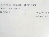 """""""Gallery Index Card for Emil Carlsen's Canal in Venice"""" provided by the Patricia Weiner Gallery, Cincinnati, OH, c.1997"""