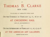 "1898 American Art Association, New York, NY (sale held at American Art Gallery, 6 East 23rd Street, New York, NY), ""Auction of the Thomas B. Clarke Collection"", February 7, 1898"