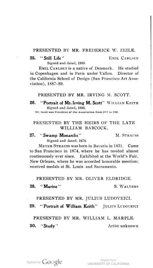 "1901 The San Francisco Art Association, Mark Hopkins Institute of Art, San Francisco, CA, ""Exhibition"", x?-x?"