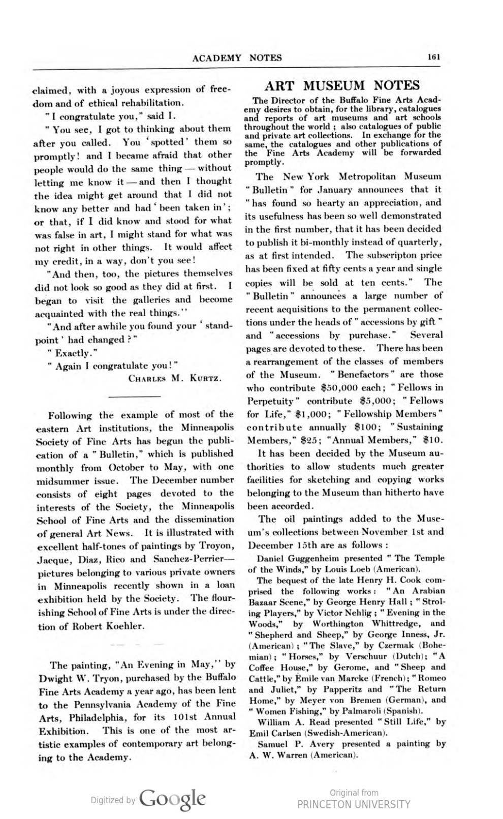 "Academy Notes, Buffalo Fine Arts Academy, Albright Art Gallery, Buffalo, NY, ""Art Museum Notes"", February, 1906, Volume 1, Number 9, page 161-162, not illustrated"
