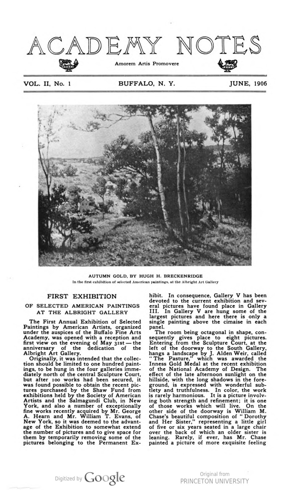 "Academy Notes, Buffalo Fine Arts Academy, Albright Art Gallery, Buffalo, NY, ""First Exhibition of Selected American Paintings at the Albright Gallery"", June, 1906, Volume 2, Number 1, page 1-5, not illustrated"
