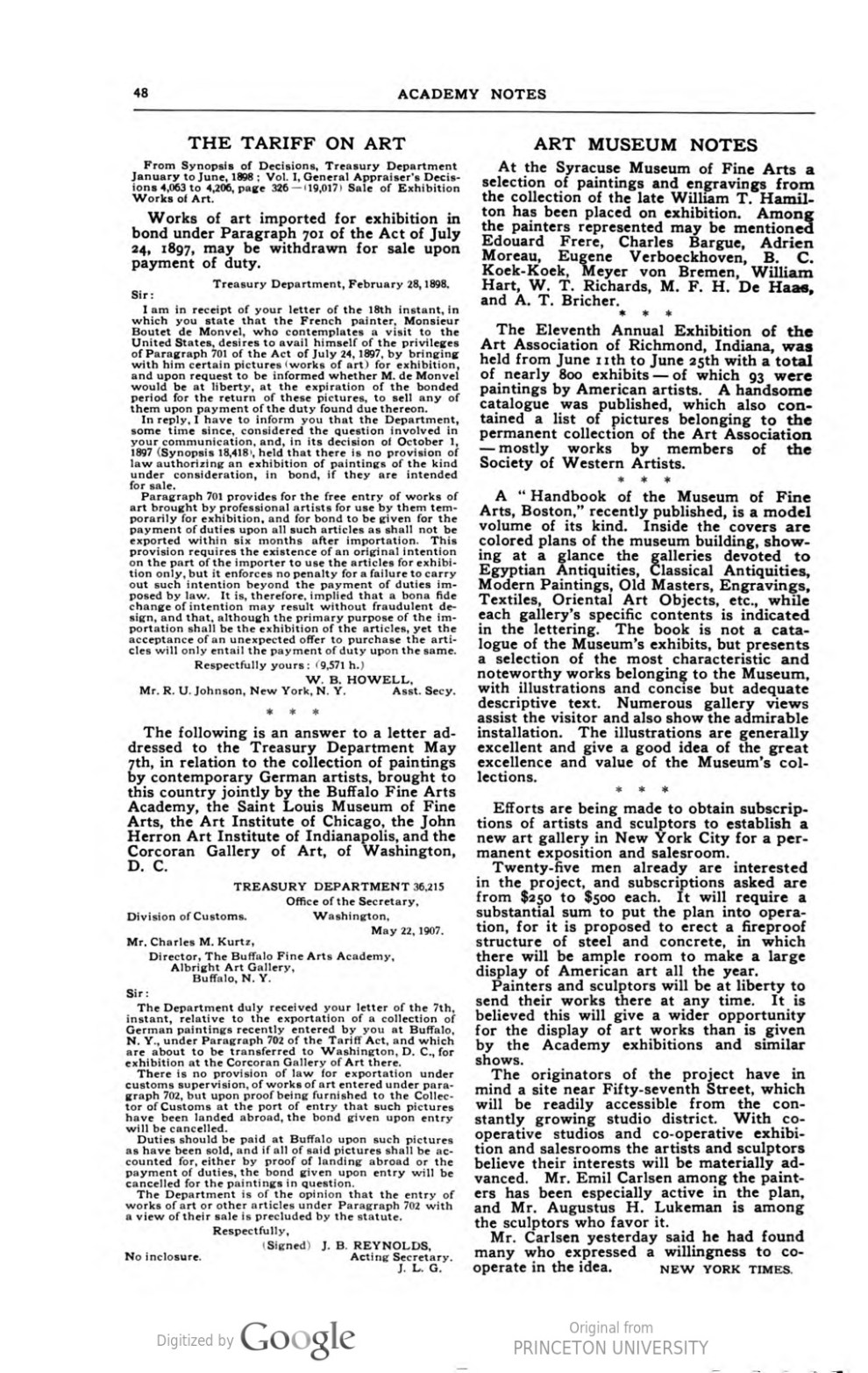 """Academy Notes, Buffalo Fine Arts Academy, Albright Art Gallery, Buffalo, NY, """"Art Museum Notes"""", August, 1907, Volume 3, Number 3, page 48, not illustrated"""