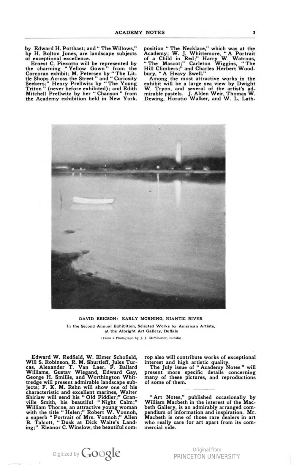 """Academy Notes, Buffalo Fine Arts Academy, Albright Art Gallery, Buffalo, NY, """"Second Annual Exhibition Selected Paintings by American Artists"""", June, 1907, Volume 3, Number 1, page 1-3, not illustrated"""