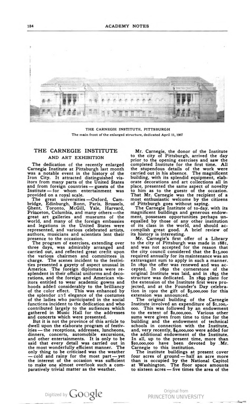 "Academy Notes, Buffalo Fine Arts Academy, Albright Art Gallery, Buffalo, NY, ""The Carnegie Institute and Art Exhibition"", May, 1907, Volume 2, Number 12, page 184-188, not illustrated"