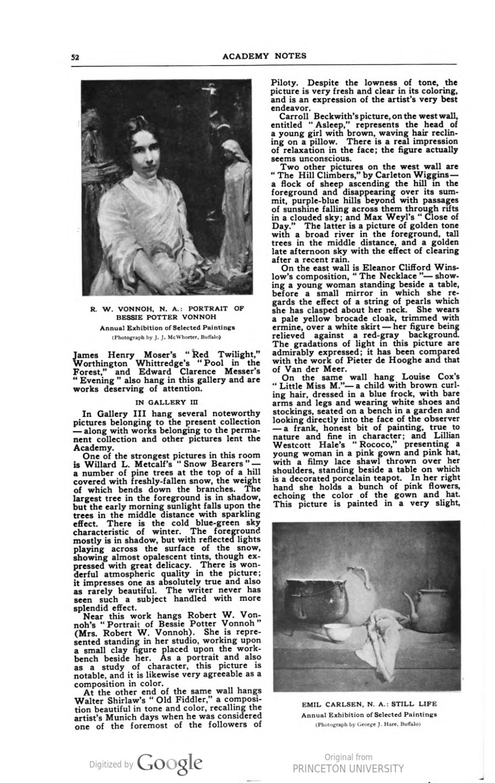 "Academy Notes, Buffalo Fine Arts Academy, Albright Art Gallery, Buffalo, NY, ""Second Annual Exhibition Selected American Paintings at the Albright Art Gallery Third Paper"", September, 1907, Volume 3, Number 4, page 49-53, not illustrated"