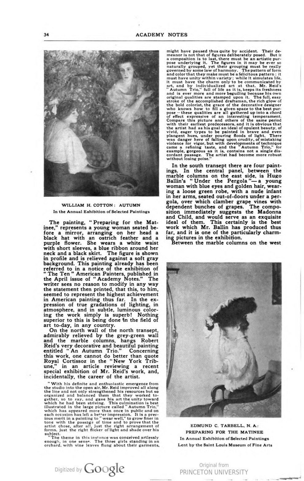 """Academy Notes, Buffalo Fine Arts Academy, Albright Art Gallery, Buffalo, NY, """"Third Annual Exhibition Selected American Paintings at the Albright Art Gallery Third Paper"""", August, 1908, Volume 4, Number 3, page 33-37, not illustrated"""