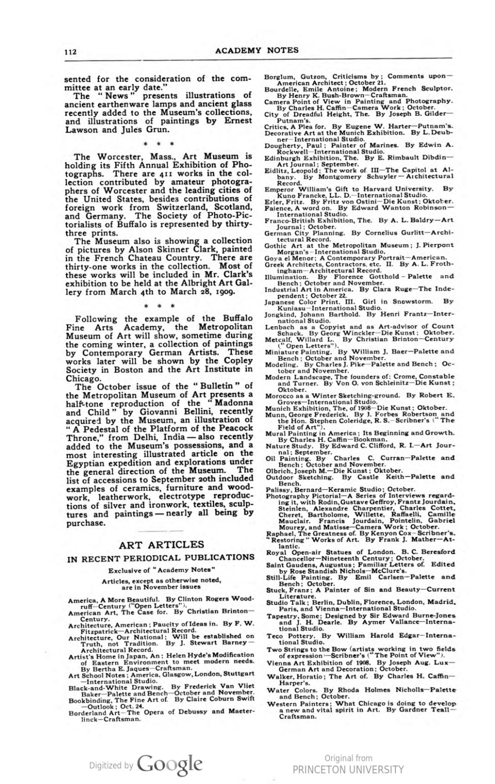 """Academy Notes, Buffalo Fine Arts Academy, Albright Art Gallery, Buffalo, NY, """"Art Museum Notes"""", December, 1908, Volume 4, Number 7, page 110-112, not illustrated"""