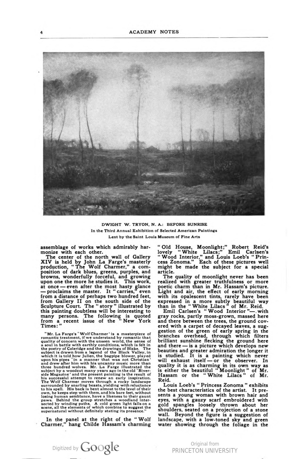 """Academy Notes, Buffalo Fine Arts Academy, Albright Art Gallery, Buffalo, NY, """"Third Annual Exhibition Selected American Paintings at the Albright Art Gallery First Paper"""", June, 1908, Volume 4, Number 1, page 1-7, not illustrated"""